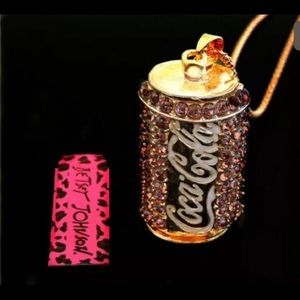 Betsey Johnson light pink Coke can necklace